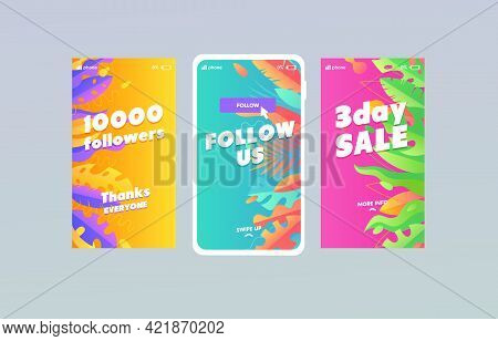 Trendy Multicolor Background With Leaf And Palm Tree Template For Stories, Streaming, Personal Blog,