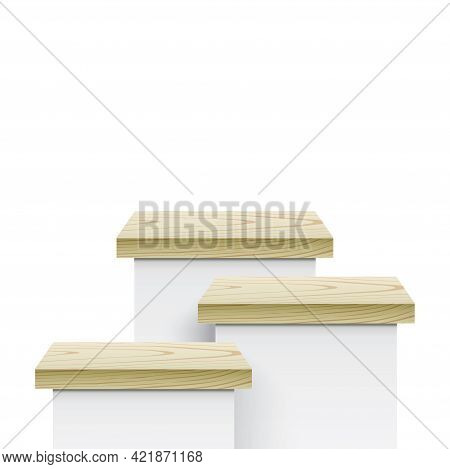 Three White Pedestals With A Wooden Covers.