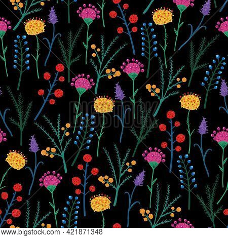 Cute Vector Pattern In Small Flower. Small Colorful Flowers. Black Background. Ditsy Floral Backgrou
