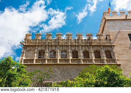 Valencia, Spain, April 17, 2021: Windows On The Pavilion Of The Consulate Of The Sea, On The Facade