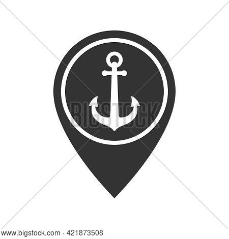 Anchor On Map Pointer Graphic Icon. Seaport Symbol. Sign Isolated On White Background. Vector Illust
