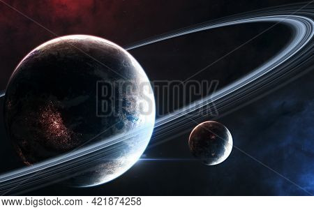Inhabited Planet In Deep Space With Satellite. Beautiful Cosmic Landscape. Science Fiction. Elements