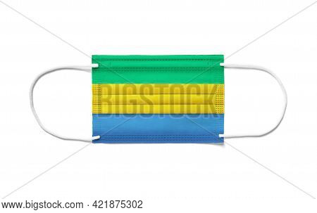 Flag Of Gabon On A Disposable Surgical Mask. White Background Isolated