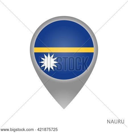 Map Pointer With Flag Of Nauru. Nauru Pointer Map Isolated Icon. Vector Illustration