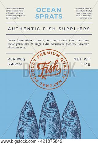 Ocean Fish Abstract Vector Packaging Design Or Label. Modern Typography Banner, Hand Drawn Sprats Sk