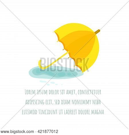 Single Vintage Umbrella Lying In The Puddle. Yellow Umbrella On The Water Puddle Isolated On White B