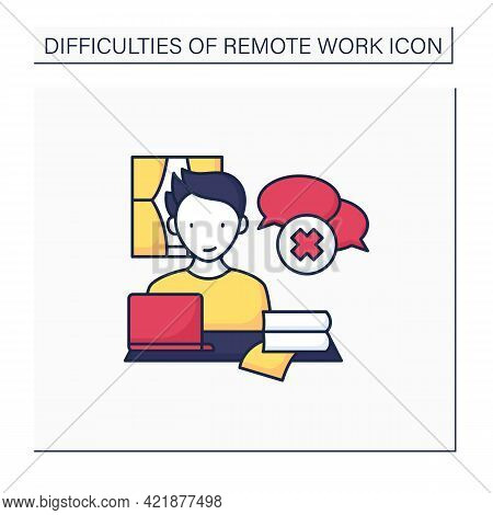 Remote Work Color Icon. Lack Of Spontaneous Conversations. Concentrate Only On Work. Career Difficul