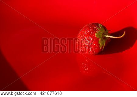 Ripe Fresh Strawberries On Red Plate With Long Shadow, Close Up.