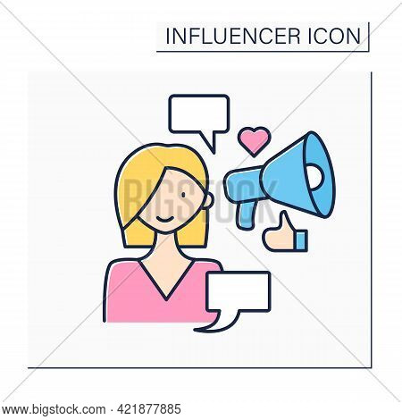 Influencer Color Icon. Woman Write Social Posts On Web Sites. Influence On Audiences. Content For Su
