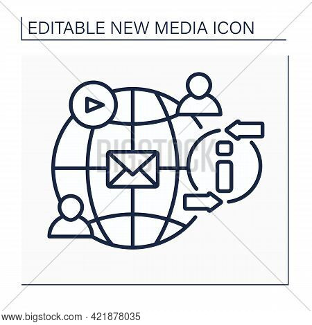 Social Networks Line Icon. Social Media Platform. Exchange Messages. Communication With People. Glob