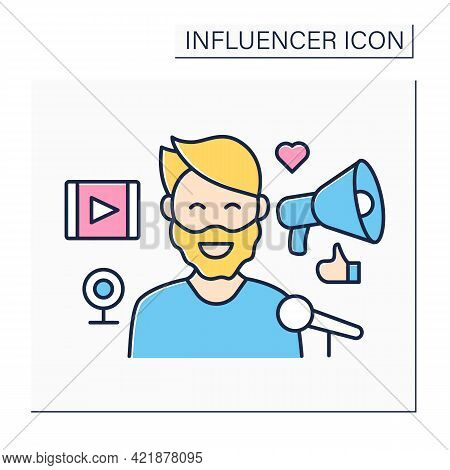Blogger Influencer Color Icon. Man Share Personal Knowledge, Thoughts On Web Pages. High Influence O