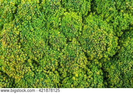 Top View Of Broccoli, Texture Of Broccoli Macro, Healthy Vegetarian Food, Close-up