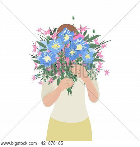 A Young Girl A Cartoon-style Character Holds A Bouquet Of Blue Flowers. Woman Hides Her Face Behind