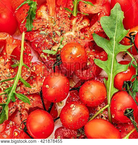 Ripe Fresh Tomatoes Salad As A  Background. Food Concept. Fresh Heirloom And Cherry Tomatoes With Sp