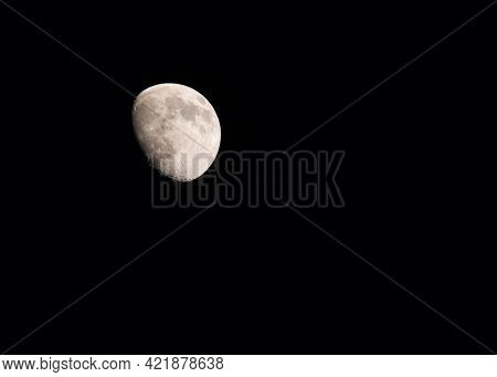 Moon In The Phase Of Transition From The First Quarter Of The Moon To The Full Moon