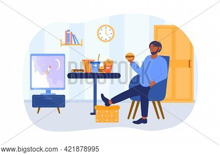 A Plump Adult Man, Male Couch Potato Eat Fast Food, French Fries, Drinking Soda. Food Addiction, Har