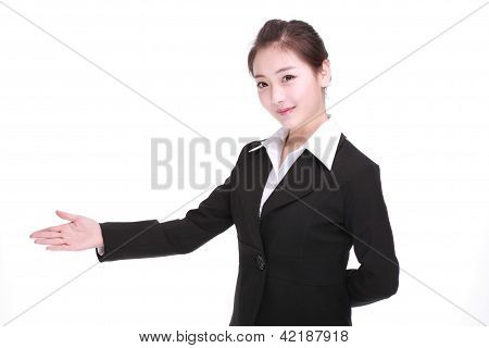 Showing Businesswoman Isolated On White