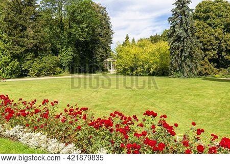 Lancut, Poland - August 26, 2020:  Gloriette In The Garden Of 16th Century Baroque Lancut Castle