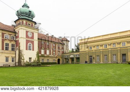 Lancut, Poland - May 5, 2013: Front View Of 16th Century Baroque Lancut Castle And Orangery, Former