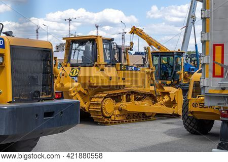 Yellow Bulldozer Sem 816d At Bauma Cct Russia 2021. Construction Equipment Fair. Moscow, Russia - Ma