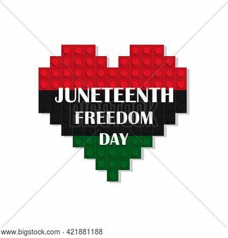 An Illustration Of A Heart Colored In Pan African Flag Colors. Isolated On White. Juneteenth Concept