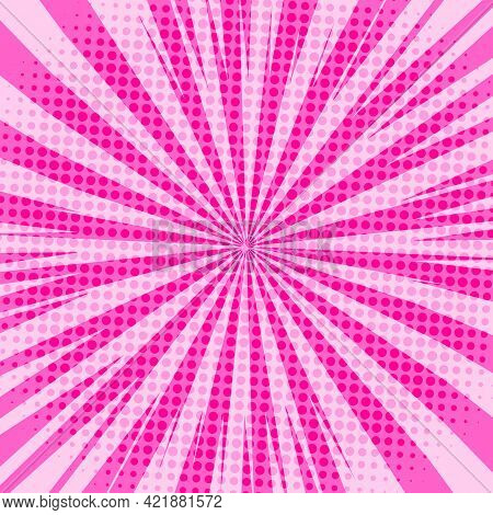 Pop Art Radial Colorful Comics Book Magazine Cover. Striped Pink Digital Background. Cartoon Funny R