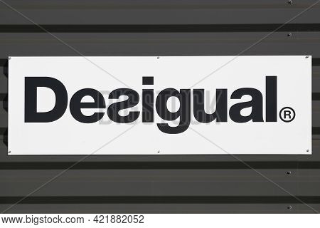 Macon, France - March 15, 2020: Desigual Logo On A Wall Of A Store. Desigual Is A Clothing Brand Hea