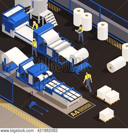Paper Production Isometric Colored Composition With Factory Employees Working In The Production Of P