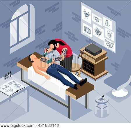 Tattoo Cabinet Isometric Composition With Tattooist Painting Man Body With Tattooing Machine Vector