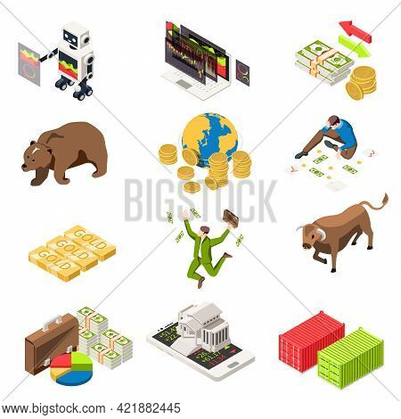 Stock Exchange Isometric Set With Building On Smartphone Banknotes Happy Broker Bull Bear Market Sym