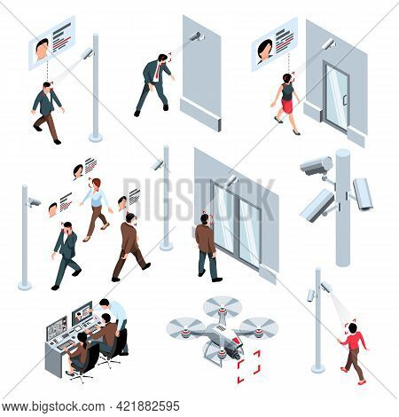 Isometric Public Security Recognition Cctv Technology Set Of Isolated Icons With Flying Drone Camera