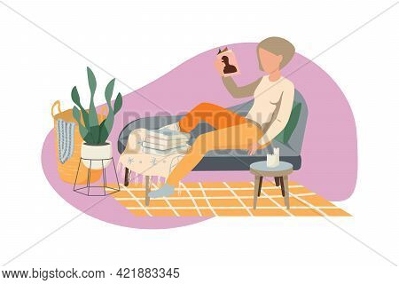 Flat Hygge Lifestyle Composition With Reading Woman In Cozy Furnished Living Room Vector Illustratio