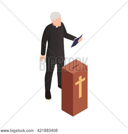 Isometric Icon With Character Of Elderly Catholic Priest Vector Illustration