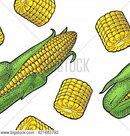 Seamless Pattern Ripe Corn Cob With And Without Leaves. Vector Color Vintage Engraving