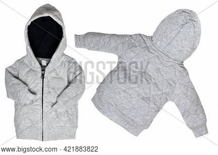 Kids jacket isolated. Closeup of a trendy gray hoodie jacket or cardigan for boy isolated on a white background. Front and back view. Childrens spring, autumn and winter fashion.