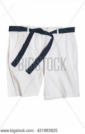 Summer Shorts Isolated. Closeup Of A Female Stylish Fashionable White Short Pant With Black Ribbon B