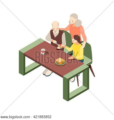 Grandparents Isometric Icon With Grandpa Making Toast For Girl 3d Vector Illustration