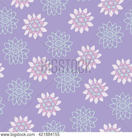 Vector Seamless Pattern With Decorative Flowers On Purple Background. Tender Flowers Design.