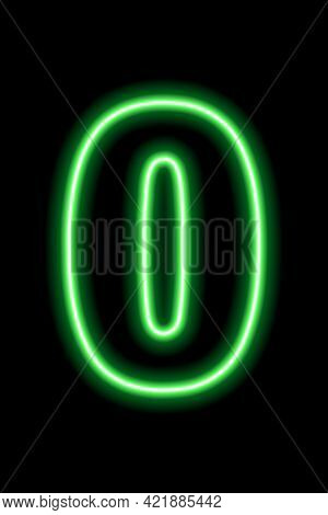 Neon Green Number 0 On Black Background. Learning Numbers, Serial Number, Price, Place.