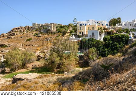 Greek Houses In The Cycladic Style In Naoussa Village On Paros Island, Greece. Cyclades.