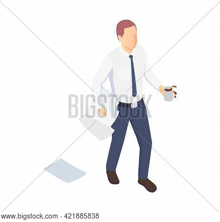 Isometric Icon With Office Worker Spilling Coffee And Dropping Papers Vector Illustration