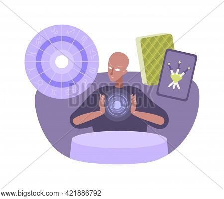 Flat Esoteric Composition With Seer Character And Taro Cards Vector Illustration