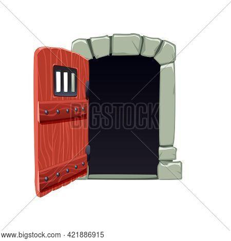 Cartoon Icon Of Open Door To Dark Cell Vector Illustration