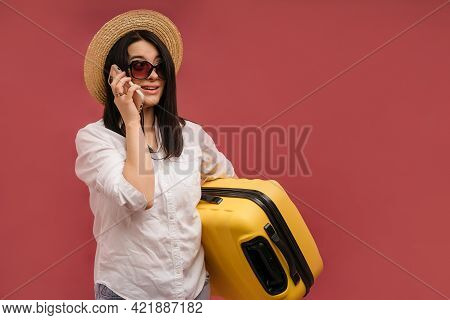 Side View Traveler Tourist Woman In Summer Clothes Hat Hold Yellow Valise Suitcase Luggage Isolated