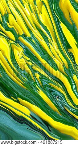 Abstract Bright Fluid Yellow And Green Background. Art Trippy Digital Backdrop. Curved Shapes Illust