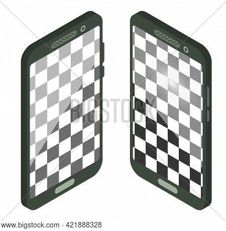 Isometric Smartphone Wit Empty Screen. Realistic Smartphone Mockup. Device Ui, Ux Mockup For Present