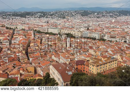 Aerial Top View Of The Old French Riviera City With Red Roofs And Promenades. Panoramic Picturesque