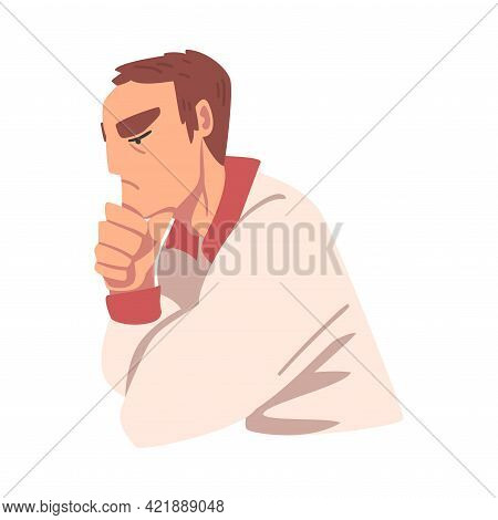 Thinking Young Man, Portrait Of Thoughtful Person With Pensive Face Expression Cartoon Vector Illust