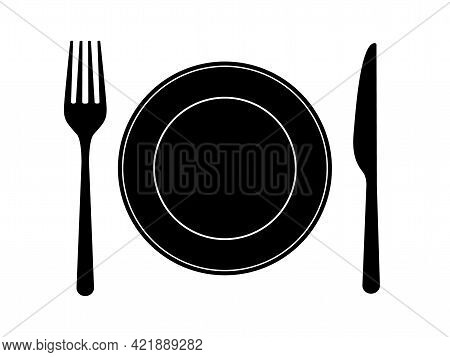 Dish Fork Knife Icons. Cutlery Design On White Backdrop. Silverware In Flat Design. Food Symbols For