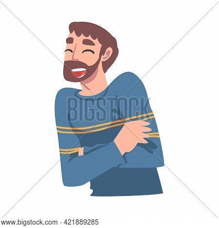Happy Laughing Bearded Man, Portrait Of Joyful Person Cartoon Vector Illustration
